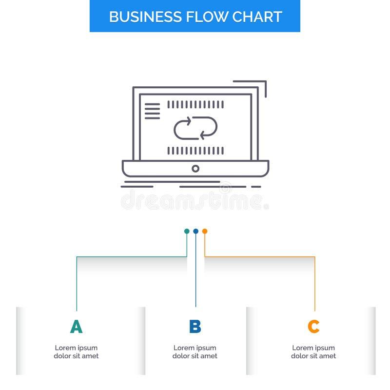 Komunikacja, związek, połączenie, synchronizacja, synchronizacji Spływowej mapy Biznesowy projekt z 3 krokami Kreskowa ikona Dla  ilustracji