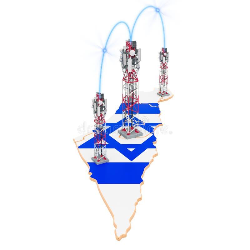 Komunikacje mobilne w Izrael, komórka górują na mapie ?wiadczenia 3 d ilustracji