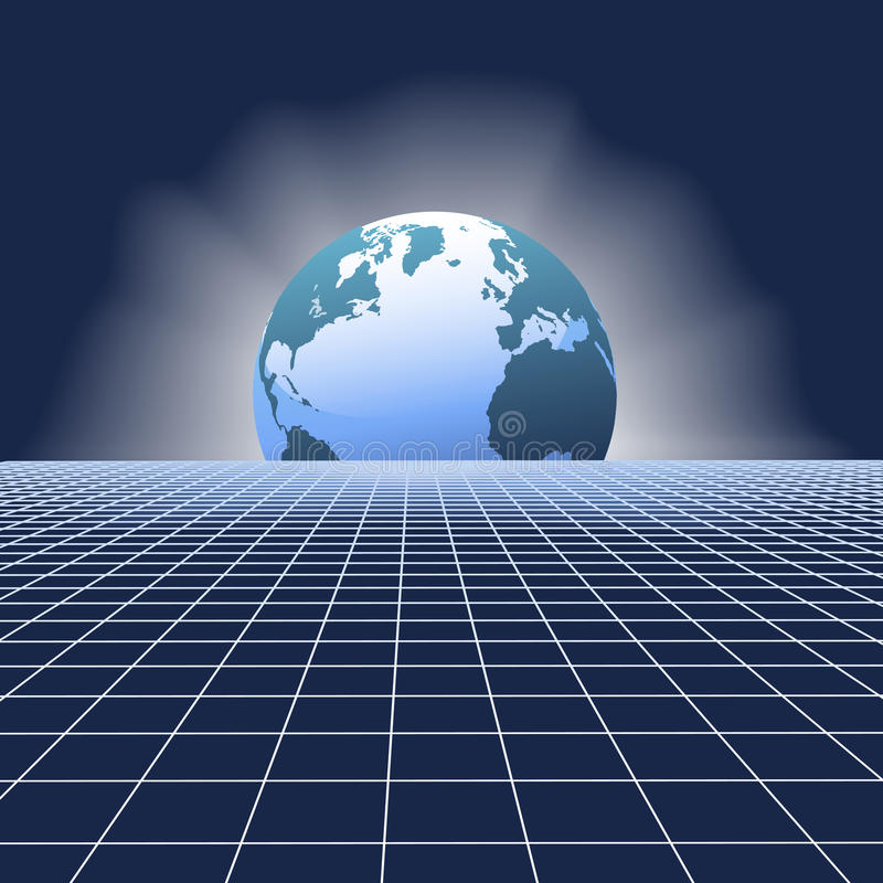 komunikacje uziemiają kuli ziemskiej siatki sieć nad wzrostem royalty ilustracja