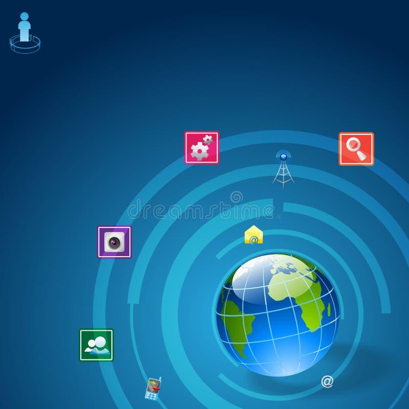 Komunikacyjna ikona wokoło ziemi ilustracja wektor