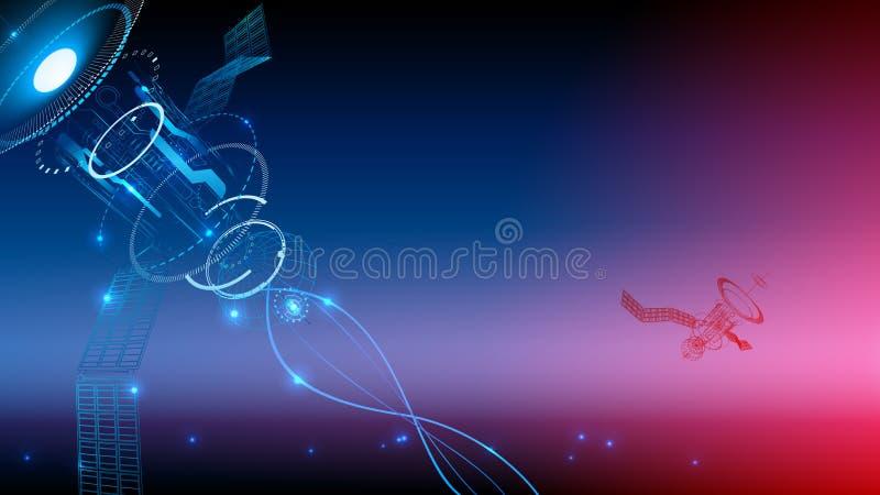 komunikacyjna ilustracja odizolowywający technologii wektor Satelita transmituje sygnał od przestrzeni ziemia Technologiczna abst ilustracja wektor