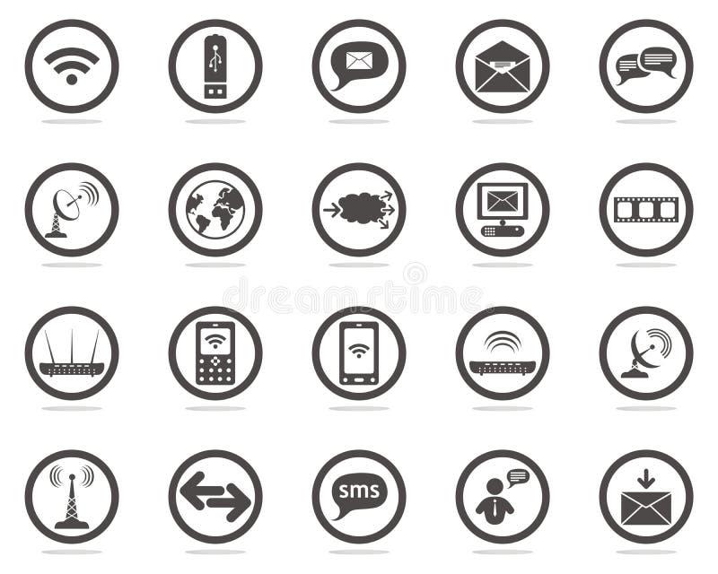 komunikacyjne ikony ustawiają sieć ilustracja wektor