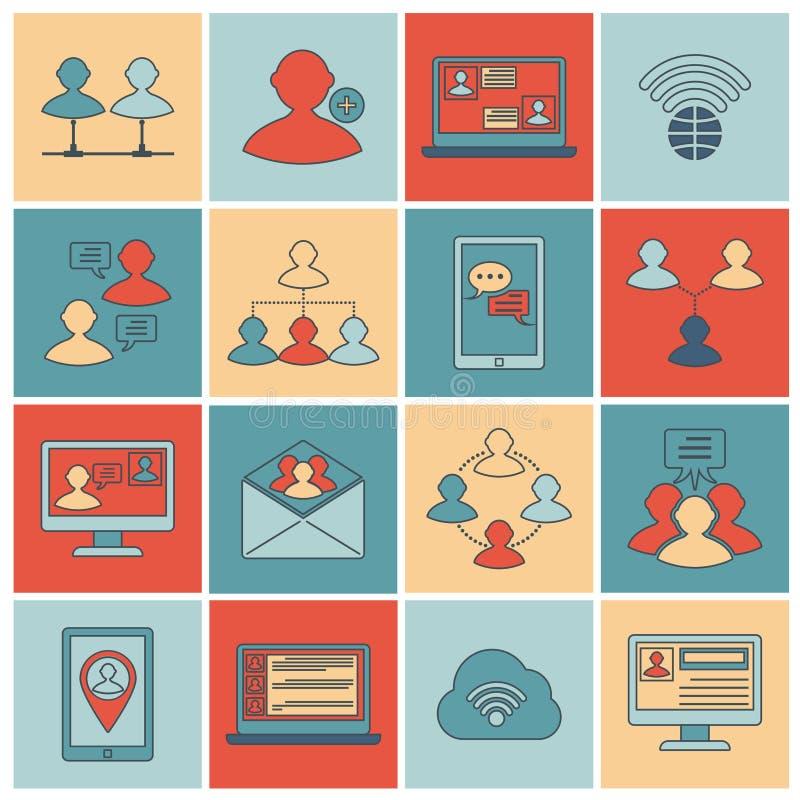 Komunikacyjne ikony ustawiająca mieszkanie linia ilustracja wektor