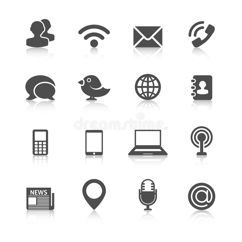 Komunikacyjne ikony z odbiciem ilustracja wektor
