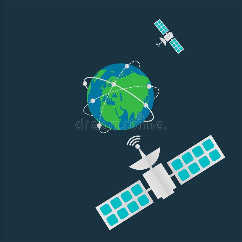 Komunikacyjne satelity w orbity ziemi, Cyfrowej anteny ziemny nadawczy wir dookoła świata również zwrócić corel ilustracji wektor ilustracji