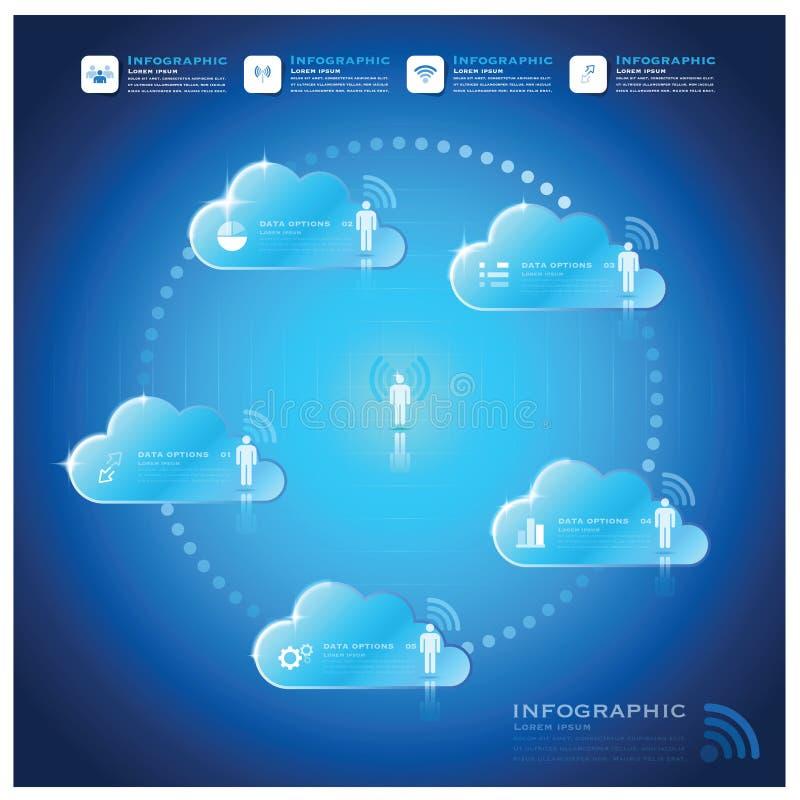 Komunikacyjnego związek chmury kształta Infographic Biznesowy projekt royalty ilustracja