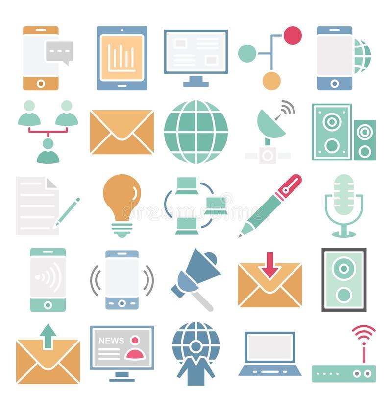 Komunikacyjni i Cyfrowy przyrząda Odizolowywali Wektorowe ikony ustawiać które mogą łatwo redagować lub modyfikować royalty ilustracja