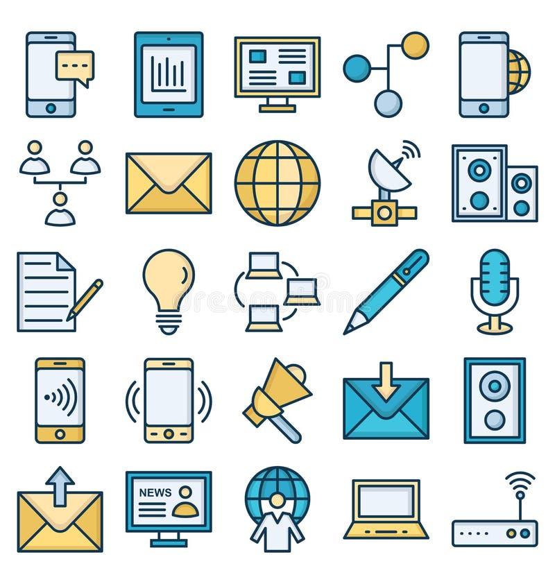 Komunikacyjni i Cyfrowy przyrz?da Odizolowywali Wektorowe ikony ustawia? kt?re mog? ?atwo redagowa? lub modyfikowa? ilustracji