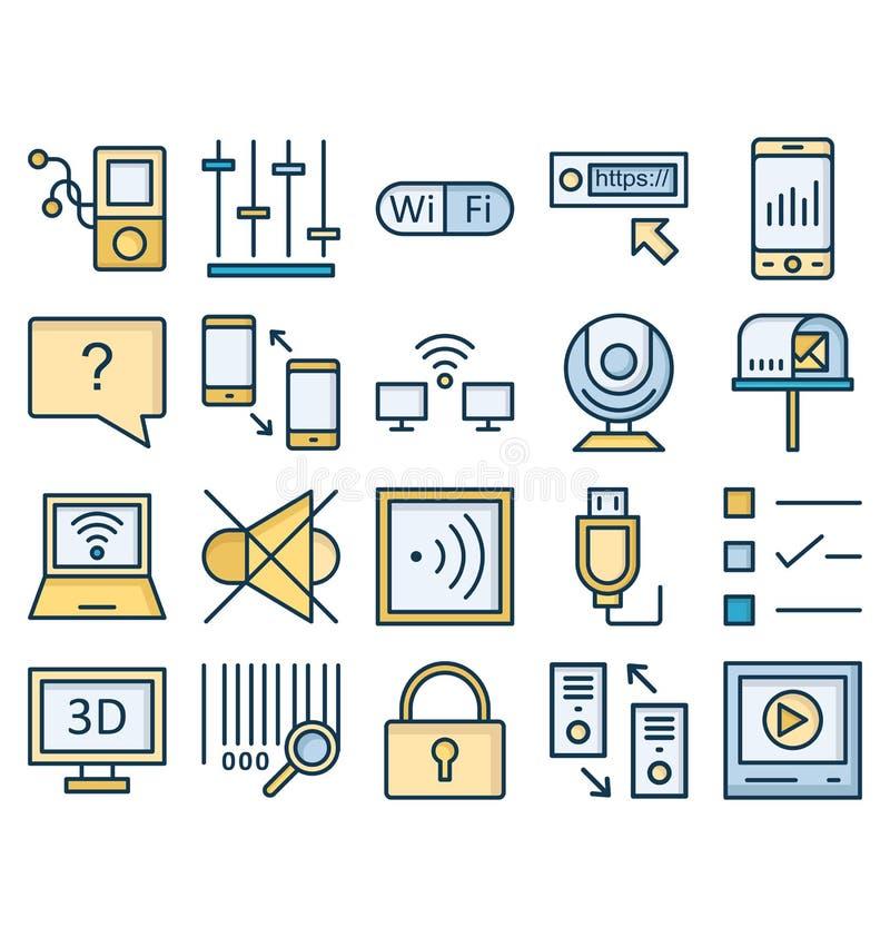 Komunikacyjni i Cyfrowy przyrz?da Odizolowywali Wektorowe ikony ustawia? kt?re mog? ?atwo redagowa? lub modyfikowa? ilustracja wektor