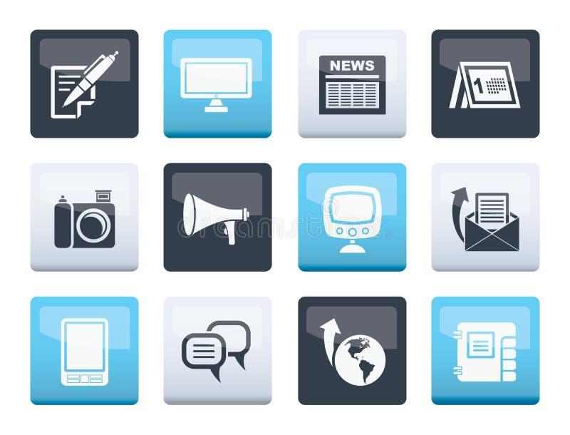 Komunikacyjni kanały i Ogólnospołeczne Medialne ikony nad koloru tłem royalty ilustracja