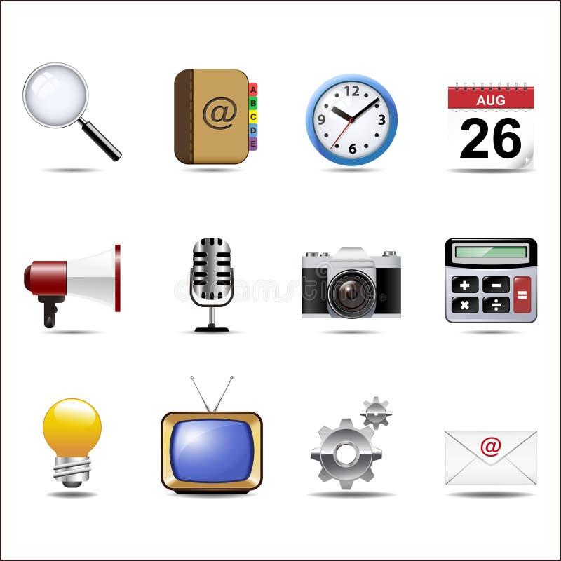 Komunikacyjni kanały i Ogólnospołeczny Medialny ikona set ilustracja wektor