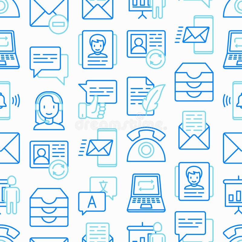 Komunikacyjny bezszwowy wzór z cienkimi kreskowymi ikonami: email, telefon, gadka, kontakty, komentarz, inbox, tłumacz, prezentac royalty ilustracja