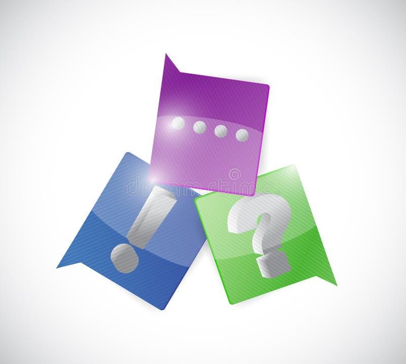 Komunikacyjny okrzyk i pytanie, ilustracja wektor