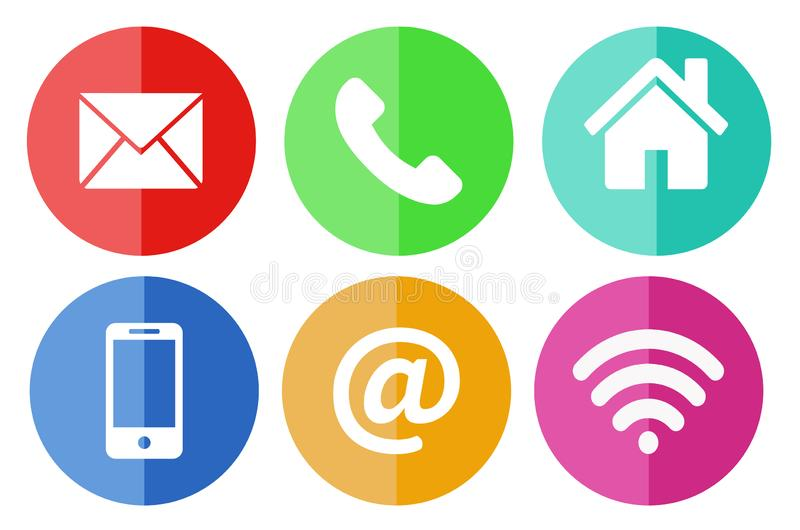 Komunikacyjny p?aski ikona set, Nowo?ytni komunikacja znaki i ikony w P?askim projekcie z cieniami, r?wnie? zwr?ci? corel ilustra royalty ilustracja