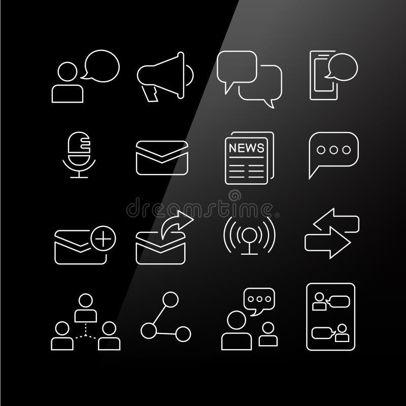 Komunikacyjny pojęcie ikony set ilustracji