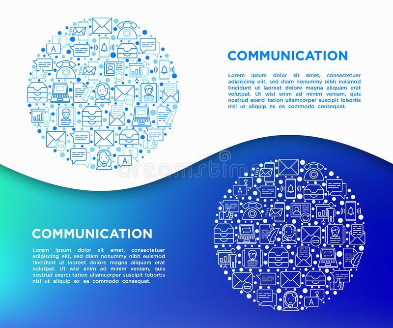 Komunikacyjny pojęcie w okręgu z cienkimi kreskowymi ikonami: email, telefon, gadka, kontakty, komentarz, inbox, tłumacz, prezent ilustracji