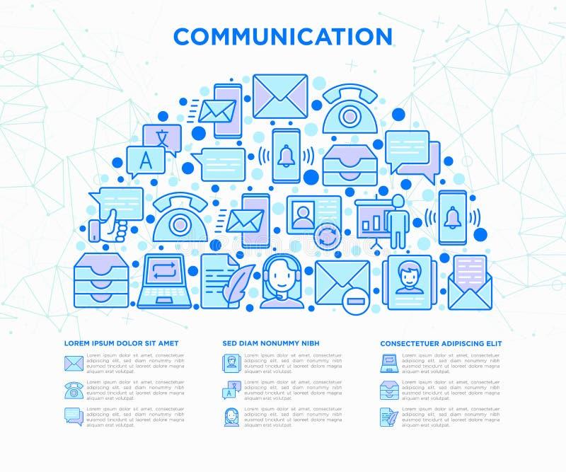 Komunikacyjny pojęcie w przyrodnim okręgu ilustracja wektor