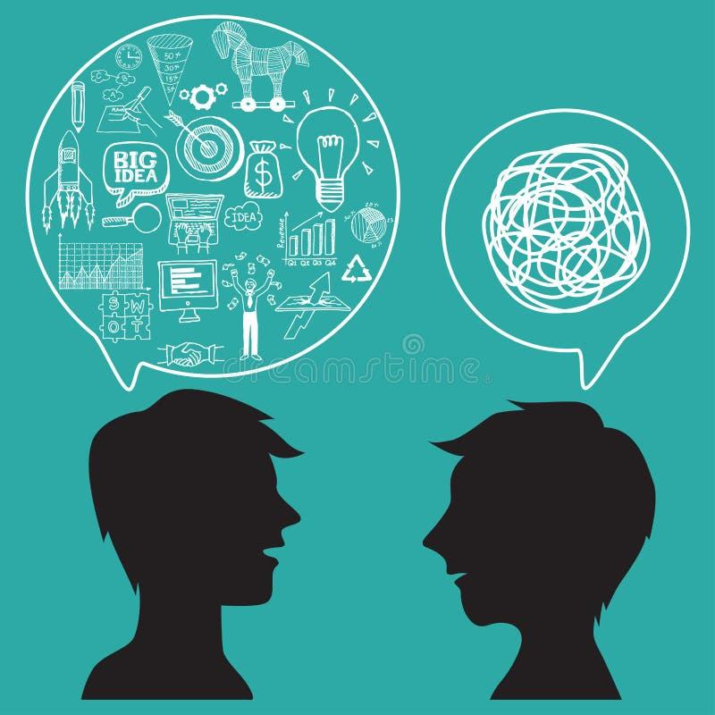 Komunikacyjny pojęcie z biznesowymi doodles w mowa bąblu royalty ilustracja