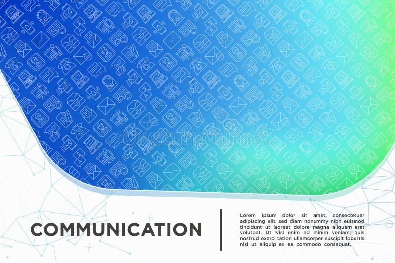 Komunikacyjny pojęcie z cienkimi kreskowymi ikonami: email, telefon, gadka, kontakty, komentarz, inbox, tłumacz, prezentacja, wia royalty ilustracja