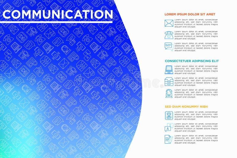 Komunikacyjny poj?cie z cienkimi kreskowymi ikonami: email, telefon, gadka, kontakty, komentarz, inbox, t?umacz, prezentacja, wia royalty ilustracja