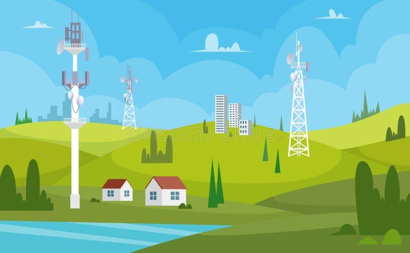 komunikacyjny wczesny wizerunku ranek sylwetki wierza g?ruje Bezprzewodowych anten wifi radia stacji interneta kanału odbiorcy ko ilustracji