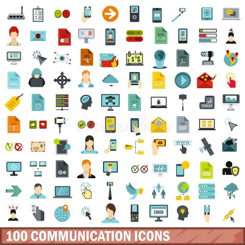 100 komunikacyjnych ikon ustawiających, mieszkanie styl ilustracja wektor