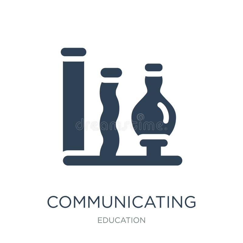 komunikować naczynie ikonę w modnym projekta stylu komunikujący naczynie ikonę odizolowywającą na białym tle Komunikować naczynia ilustracja wektor