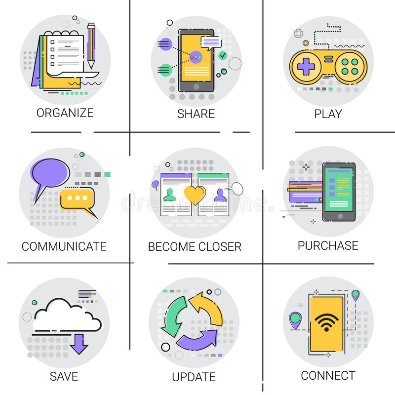 Komunikuje Ogólnospołecznej sieci Komunikacyjnej Podłączeniowej bazy danych Applicatios ikony Online Robi zakupy set ilustracja wektor
