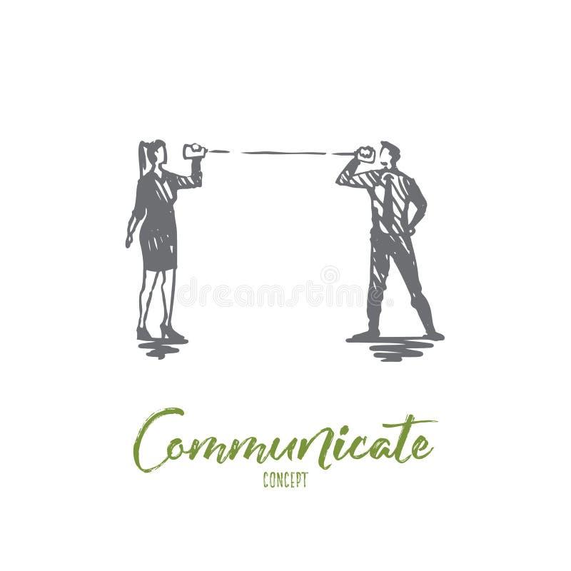 Komunikuje, opowiada, zaludnia, mowa, rozmowy pojęcie Ręka rysujący odosobniony wektor ilustracja wektor