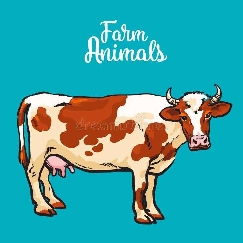 Kon skissar in stil, lantgårddjur stock illustrationer