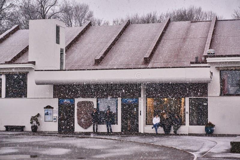 Kon-Tiki Museum durante la tempesta della neve fotografia stock libera da diritti