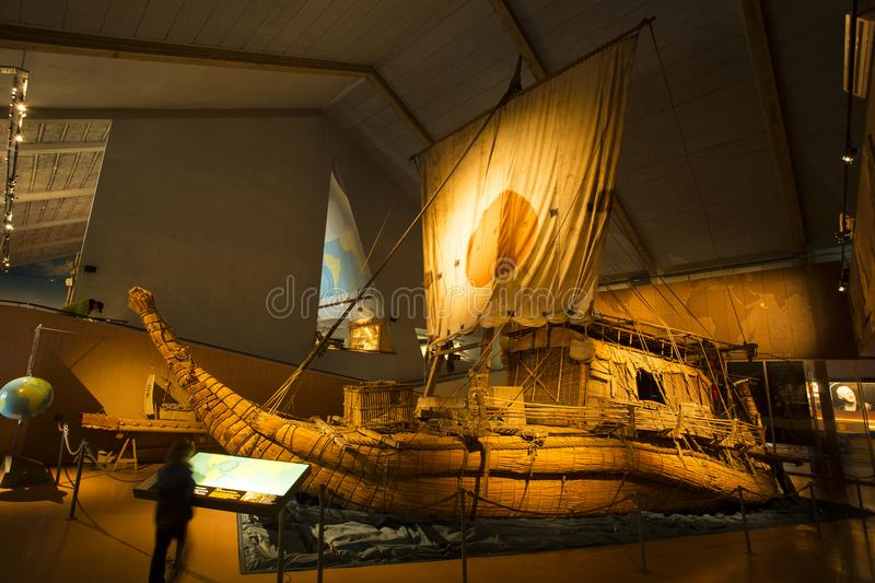 Kon Tiki in museum in Oslo. The Kon-Tiki ship in the museum in Oslo stock image
