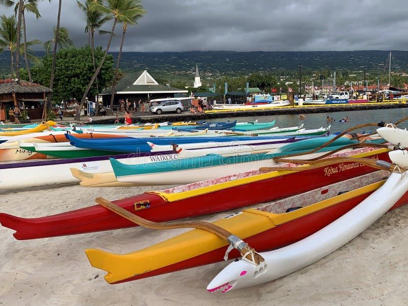 KONA, HAWAII, USA - SEPTEMBER 01, 2019: - Queen Liliuokalani Long Distance Canoe Race royalty free stock photography