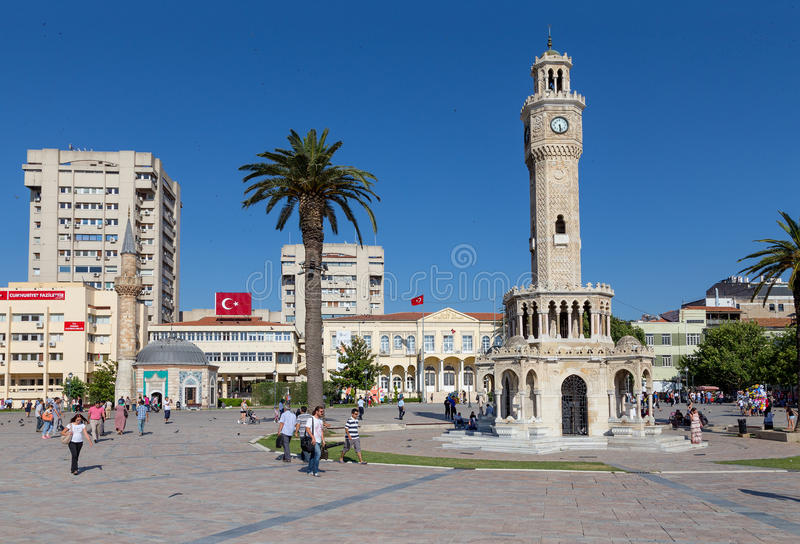 Konak square, Izmir, Turkey. Konak Square is a busy square at the southern end of Ataturk Caddesi in the Konak district of Izmir, Turkey. The square is the royalty free stock photos