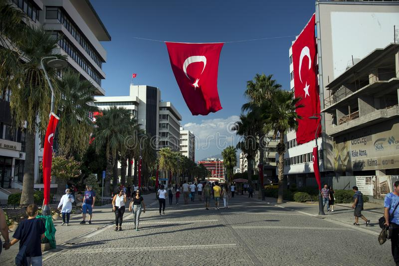 Konak Square and Turkish flags. Konak Square Turkish Flags Hanging for the celebrations of the Independence day of Izmir City. Izmir, Turkey - September 9, 2018 royalty free stock images