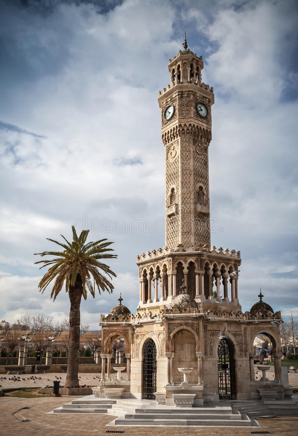 Konak Square view with old clock tower, Izmir, Turkey. Konak Square view with old clock tower. It was built in 1901 and accepted as the official symbol of Izmir royalty free stock photos