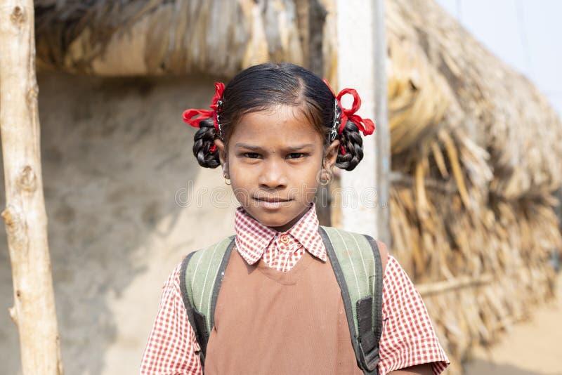 Konark Odisha India -Dec 04 2018 - Unidentified Portrait of smiling school Tribal girl going to school. Nolia Sahi,Chandrabhaga, royalty free stock photo