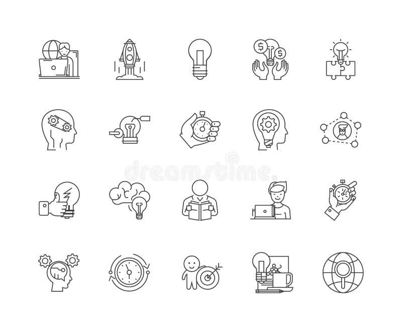 Koncentracji kreskowe ikony, znaki, wektoru set, kontur ilustracji pojęcie ilustracji