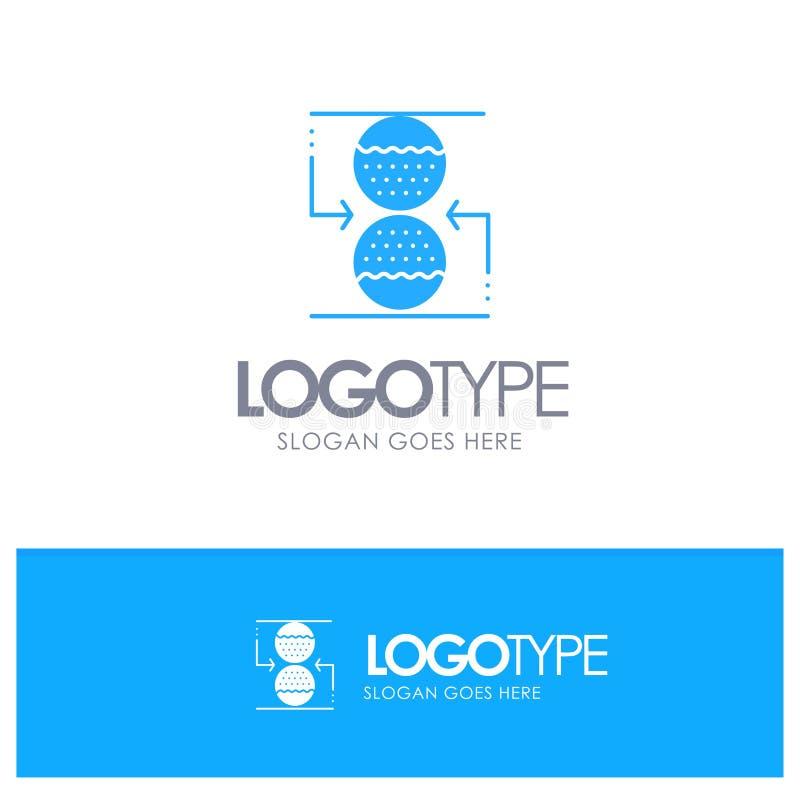 Koncentration kontroll som är effektiv, blå fast logo för sandklocka med stället för tagline stock illustrationer