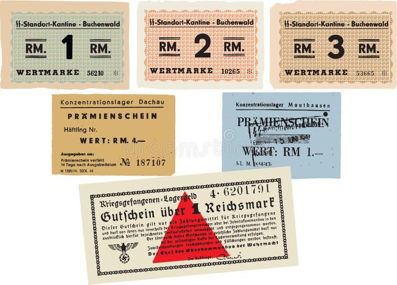 Koncentrationslägerpengar royaltyfri illustrationer