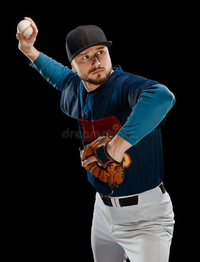 Koncentrerad basebollspelare royaltyfria bilder