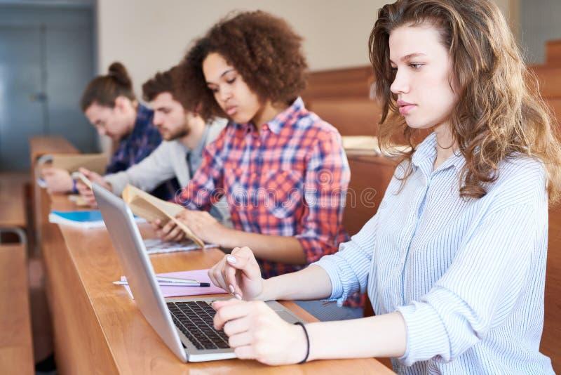 Koncentrerad universitetsstudent som förbereder sig för prov med bärbara datorn royaltyfri fotografi