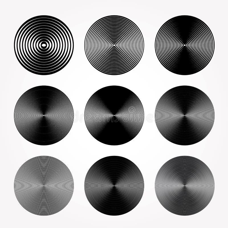Koncentriska nio stock illustrationer
