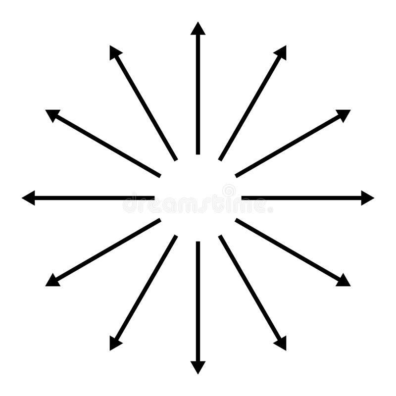 Koncentriskt radiellt och att utstråla pilar Rund pilbeståndsdel stock illustrationer
