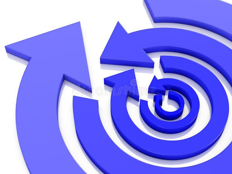 Koncentryczne kółkowe strzały z błękitnym gradientem w opposite kierunków na przemian 3D ilustracji royalty ilustracja