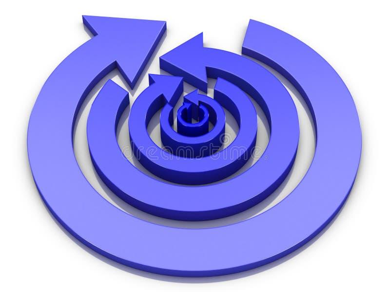 Koncentryczne kółkowe strzały z błękitnym gradientem w opposite kierunków na przemian 3D ilustracji ilustracja wektor