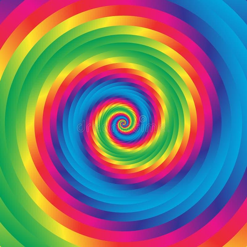 Koncentrycznej kolorowej spirali w przypadkowi okręgi Abstrakcjonistyczna kurenda p royalty ilustracja