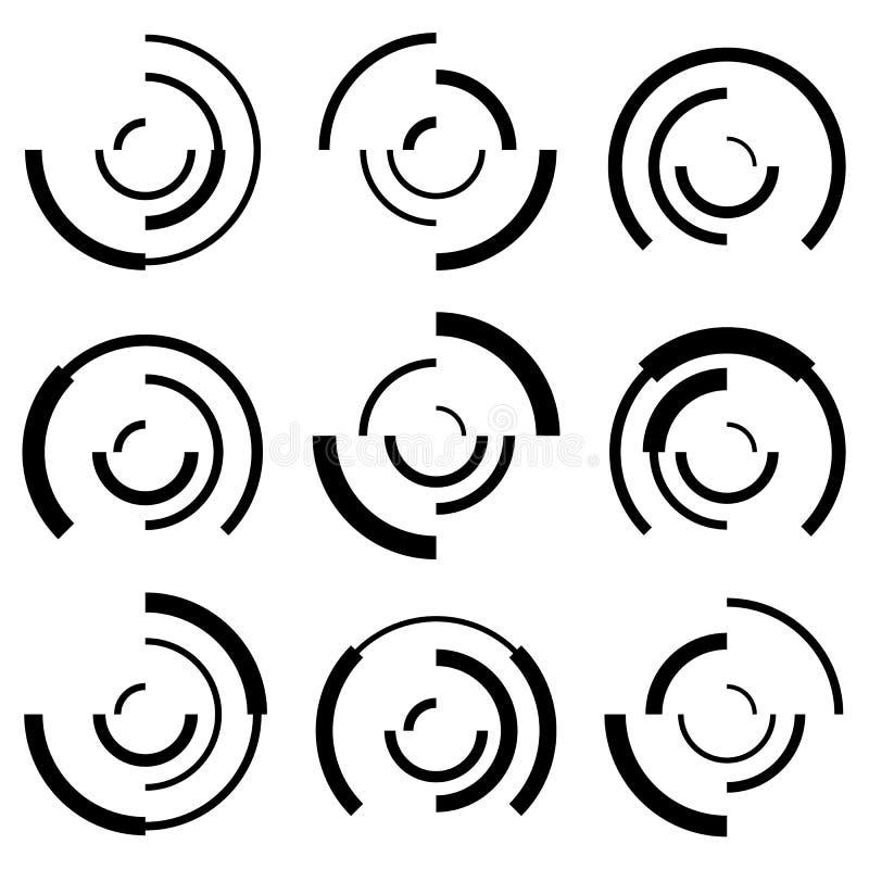 Koncentryczni okręgi z przypadkowymi liniami Członujący okręgi abstrakcjonistyczni ilustracja wektor