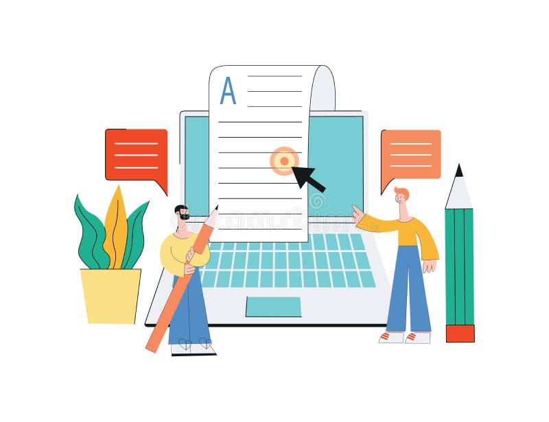Koncepcja artykułów online w mediach internetowych, treść na blogu ilustracja wektor