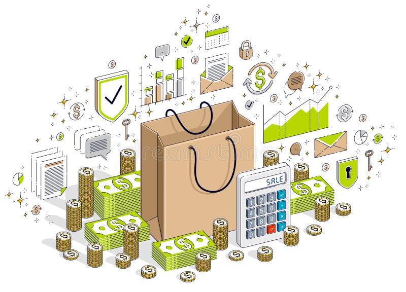 Koncepcja Big Sale, Retail, Sellout, Shopping Bag z kasami gotówkowymi wyizolowanymi na białym tle Firma izometryczna wektora 3d ilustracja wektor